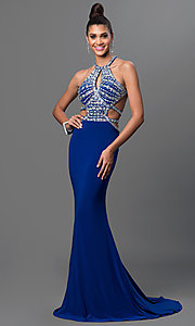 Image of open-back long prom dress with jeweled bodice. Style: DQ-9360 Front Image
