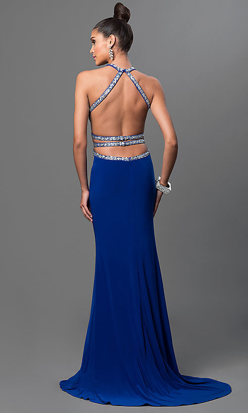 Image of open-back long prom dress with jeweled bodice. Style: DQ-9360 Back Image