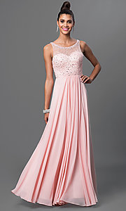 Long Jeweled-Bodice Sleeveless Prom Dress