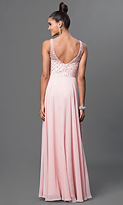 Image of long jeweled-bodice sleeveless prom dress. Style: DQ-9382 Back Image