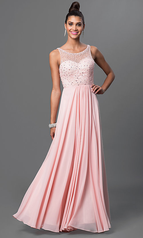 Image of long jeweled-bodice sleeveless prom dress. Style: DQ-9382 Front Image