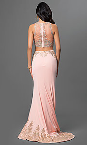 Image of two-piece floor-length dress with lace accents. Style: DQ-9391 Back Image