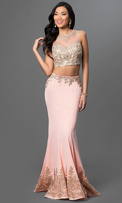 Image of two-piece floor-length dress with lace accents. Style: DQ-9391 Front Image