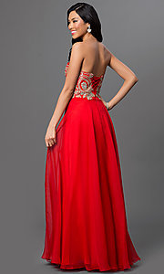 Image of sweetheart long dress with beaded-lace bodice. Style: DQ-9402 Back Image
