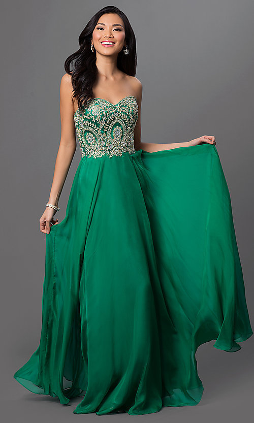 Image of sweetheart long dress with beaded-lace bodice. Style: DQ-9402 Front Image
