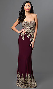 Strapless Lace Embellished Floor Length Dress