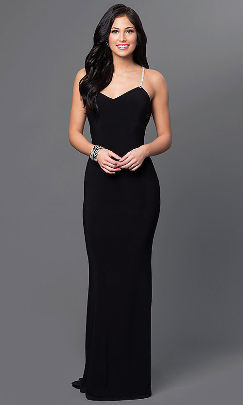 Image of floor-length black Marina jeweled-back dress Style: JU-MA-262830 Front Image