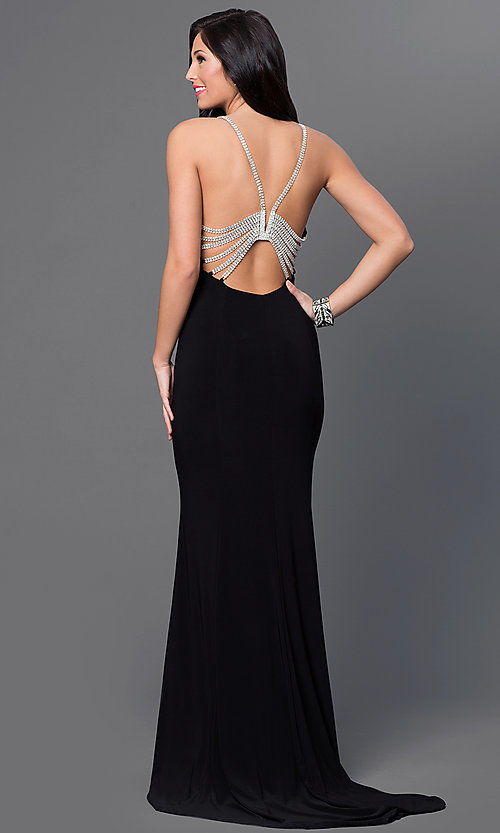 Image of floor-length black Marina jeweled-back dress Style: JU-MA-262830 Back Image