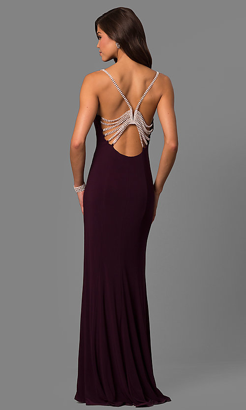 Image of floor-length black Marina jeweled-back dress Style: JU-MA-262830 Detail Image 2