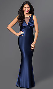 Floor Length Satin V-Neck Dress