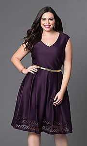 Short A-Line Purple Party Plus Dress by Tiana B.