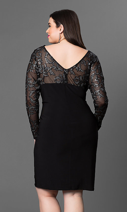 Image of sheer long sleeve knee-length Marina party dress. Style: JU-MA-292463 Back Image