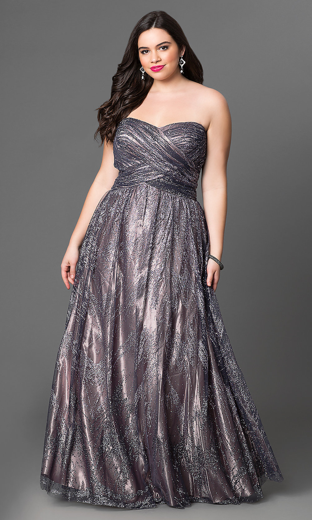 Sweetheart Metallic Plus-Size Prom Dress -PromGirl