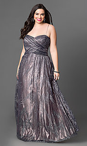Image of long metallic strapless plus-size prom dress  Style: JU-573L Detail Image 1