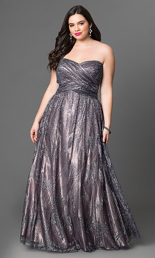 Image of long metallic strapless plus-size prom dress  Style: JU-573L Front Image