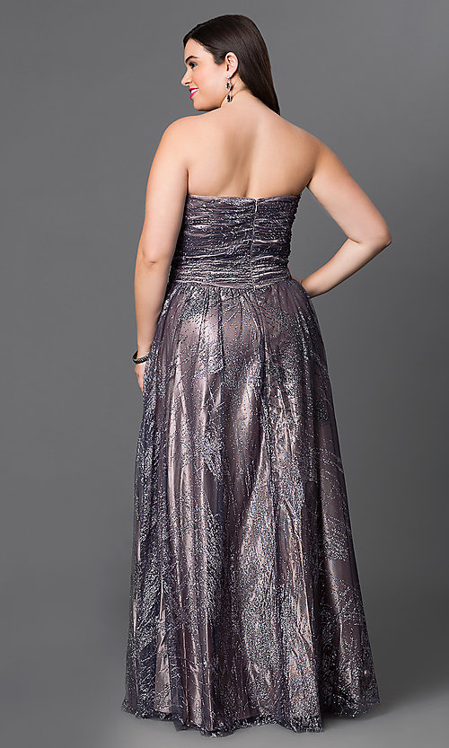 Image of long metallic strapless plus-size prom dress  Style: JU-573L Back Image