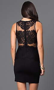 Image of lace illusion short sleeveless party dress. Style: CL-di238 Back Image