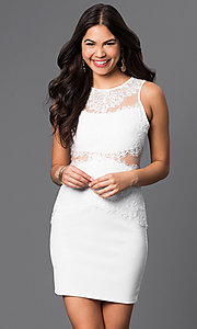 Image of lace illusion short sleeveless party dress. Style: CL-di238 Detail Image 3