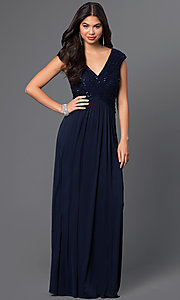 Image of midnight blue long prom dress with v-neckline. Style: SG-ASANTJ57 Front Image