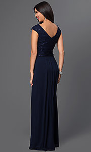 Image of midnight blue long prom dress with v-neckline. Style: SG-ASANTJ57 Back Image