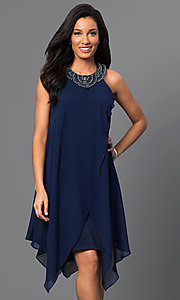 Image of short sleeveless navy-blue handkerchief dress Style: SG-ASWKOATR Front Image