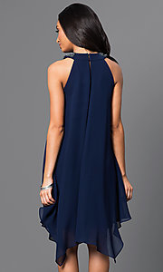 Image of short sleeveless navy-blue handkerchief dress Style: SG-ASWKOATR Back Image