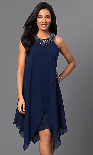 Short Sleeveless Navy-Blue Handkerchief Dress