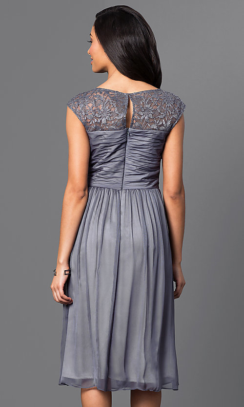 Image of illusion-lace ruched-bodice chiffon party dress. Style: SG-ASAJiAVM Back Image