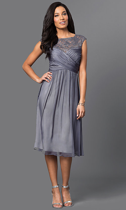 Image of illusion-lace ruched-bodice chiffon party dress. Style: SG-ASAJiAVM Detail Image 1