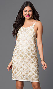 Image of short open-back checkered-sequin dress Style: VE-MYM8962 Detail Image 2