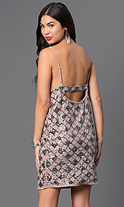 Image of short open-back checkered-sequin dress Style: VE-MYM8962 Back Image