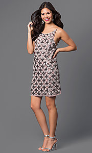 Image of short open-back checkered-sequin dress Style: VE-MYM8962 Detail Image 1