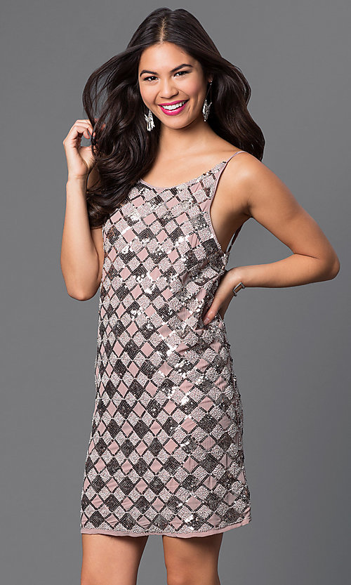Image of short open-back checkered-sequin dress Style: VE-MYM8962 Front Image