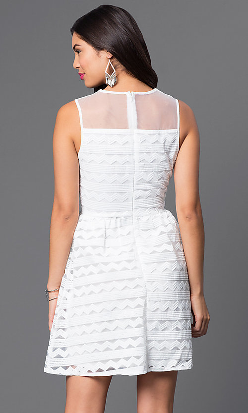 Image of high-neck a-line sleeveless dress. Style: VE-QFM7341-1 Back Image