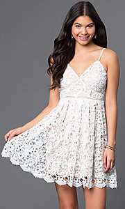 Short A-Line Spaghetti-Strap Lace Dress