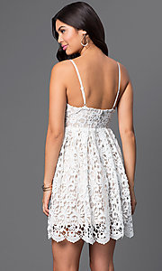 Image of short a-line spaghetti-strap lace dress. Style: LP-23276 Back Image