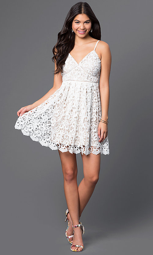 Image of short a-line spaghetti-strap lace dress. Style: LP-23276 Detail Image 1