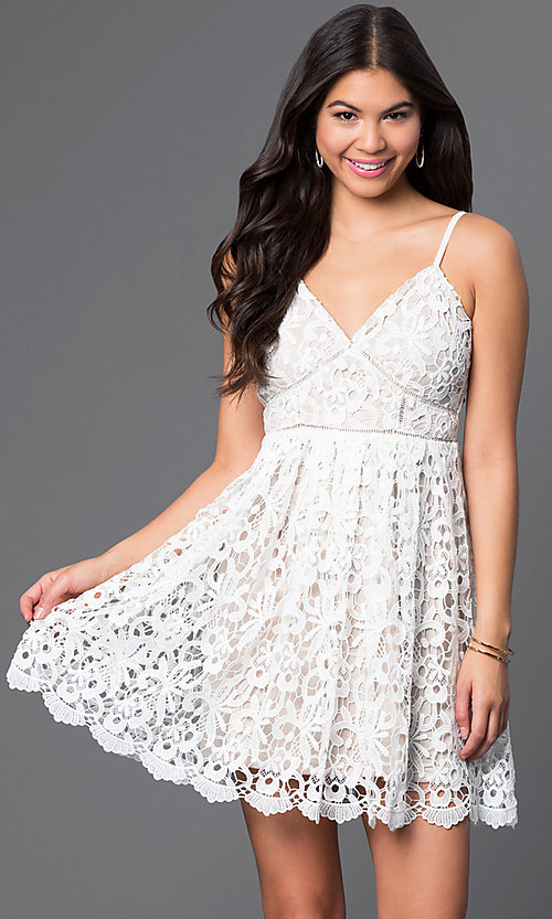 Image of short a-line spaghetti-strap lace dress. Style: LP-23276 Front Image