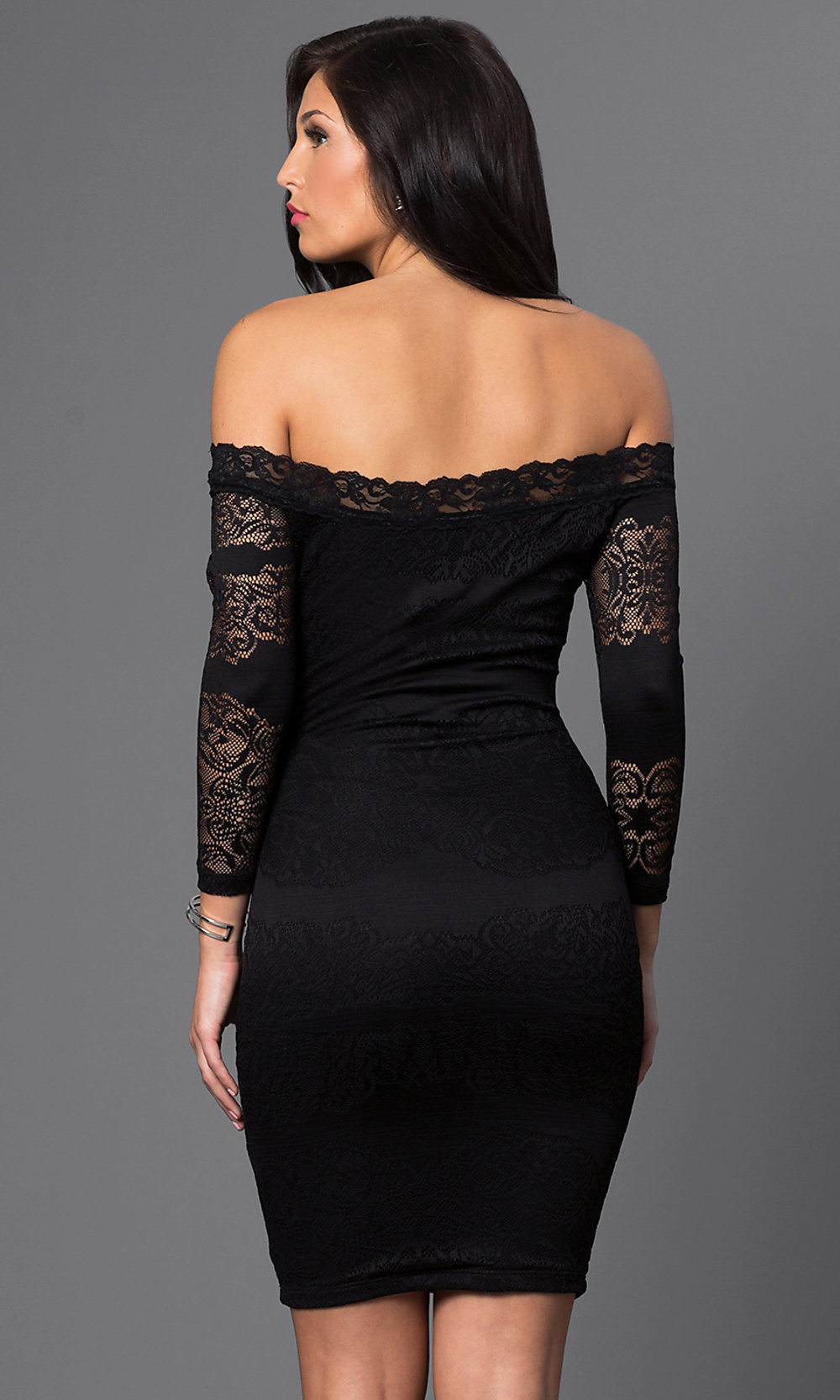 Black dress quarter sleeve - Hover To Zoom