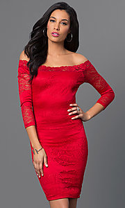 Image of off-the-shoulder three-quarter sleeve short spandex dress. Style: SY-D-20968A Front Image