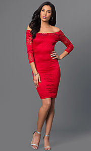Image of off-the-shoulder three-quarter sleeve short spandex dress. Style: SY-D-20968A Detail Image 1