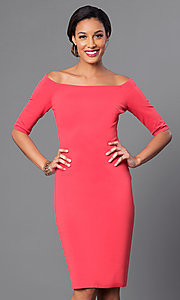 Image of off-the-shoulder knee-length sleeved party dress. Style: JTM-JD4901 Detail Image 1