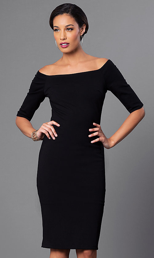Image of off-the-shoulder knee-length sleeved party dress. Style: JTM-JD4901 Front Image