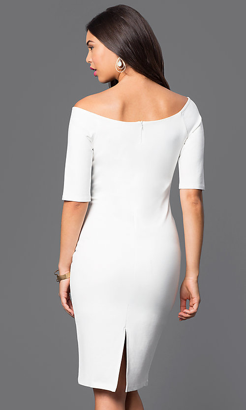 Image of off-the-shoulder knee-length sleeved party dress. Style: JTM-JD4901 Back Image