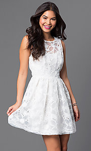 Sleeveless Ivory Mesh Dress