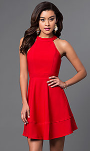 Image of inexpensive high-neck short red homecoming dress. Style: EM-ERV-1027-600 Front Image