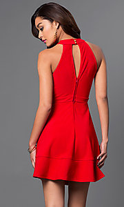 Image of inexpensive high-neck short red homecoming dress. Style: EM-ERV-1027-600 Back Image