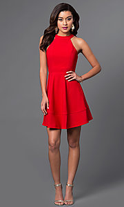 Image of inexpensive high-neck short red homecoming dress. Style: EM-ERV-1027-600 Detail Image 1