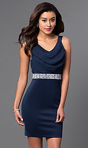 Image of short cowl-neck sleeveless dress by Emerald Sundae Style: EM-EQJ-1003-430 Front Image