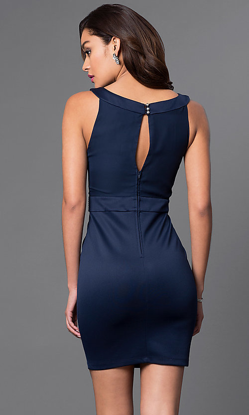 Image of short cowl-neck sleeveless dress by Emerald Sundae Style: EM-EQJ-1003-430 Back Image